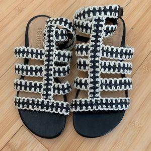 Schutz Black and White Strappy Woven Sandals NWT